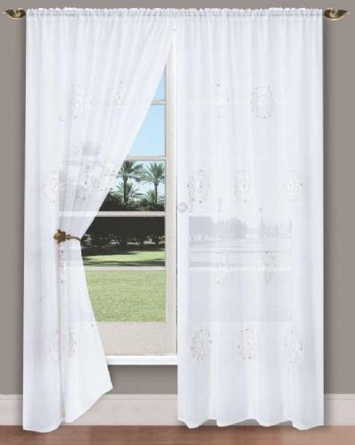 WHITE COLOUR SLOT TOP READY MADE STYLISH DIAMANTE NET VOILE CURTAIN
